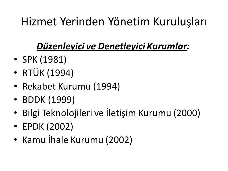 Hizmet Yerinden Yönetim Kuruluşları Düzenleyici ve Denetleyici Kurumlar: SPK (1981) RTÜK (1994) Rekabet Kurumu (1994) BDDK (1999) Bilgi Teknolojileri