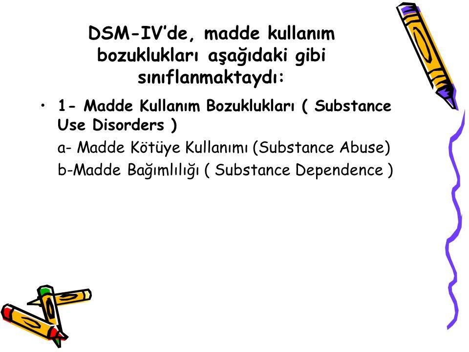 DSM-IV'de, madde kullanım bozuklukları aşağıdaki gibi sınıflanmaktaydı: 1- Madde Kullanım Bozuklukları ( Substance Use Disorders ) a- Madde Kötüye Kullanımı (Substance Abuse) b-Madde Bağımlılığı ( Substance Dependence )