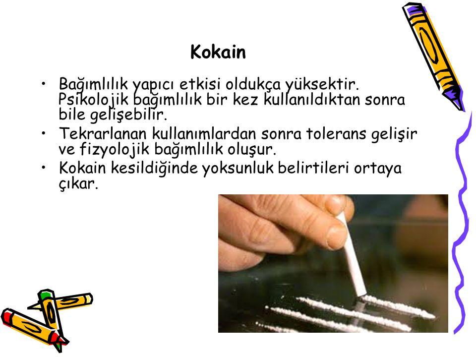 Kokain Bağımlılık yapıcı etkisi oldukça yüksektir.