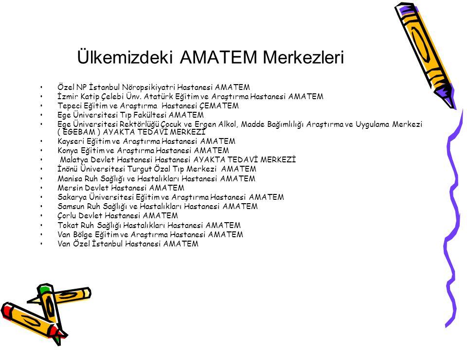 Ülkemizdeki AMATEM Merkezleri Özel NP İstanbul Nöropsikiyatri Hastanesi AMATEM İzmir Katip Çelebi Ünv.