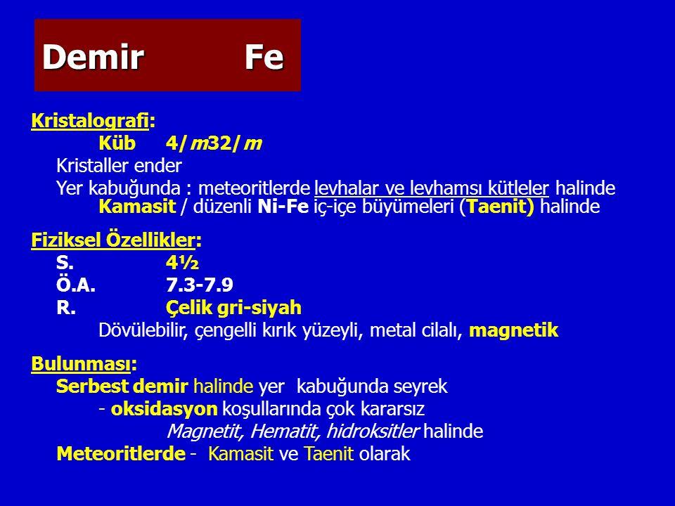 DemirFe Kristalografi: Küb4/m32/m Kristaller ender Yer kabuğunda : meteoritlerde levhalar ve levhamsı kütleler halinde Kamasit / düzenli Ni-Fe iç-içe büyümeleri (Taenit) halinde Fiziksel Özellikler: S.