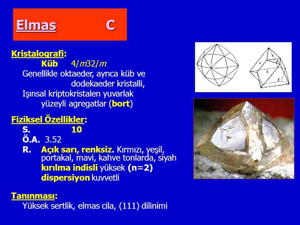 Elmas C Kristalografi: Küb4/m32/m Genellikle oktaeder, ayrıca küb ve dodekaeder kristalli, Işınsal kriptokristalen yuvarlak yüzeyli agregatlar (bort) Fiziksel Özellikler: S.