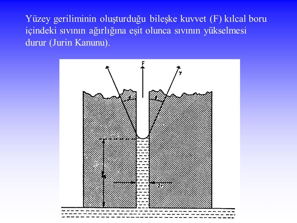 125 Yüzey geriliminin oluşturduğu bileşke kuvvet (F) kılcal boru içindeki sıvının ağırlığına eşit olunca sıvının yükselmesi durur (Jurin Kanunu).