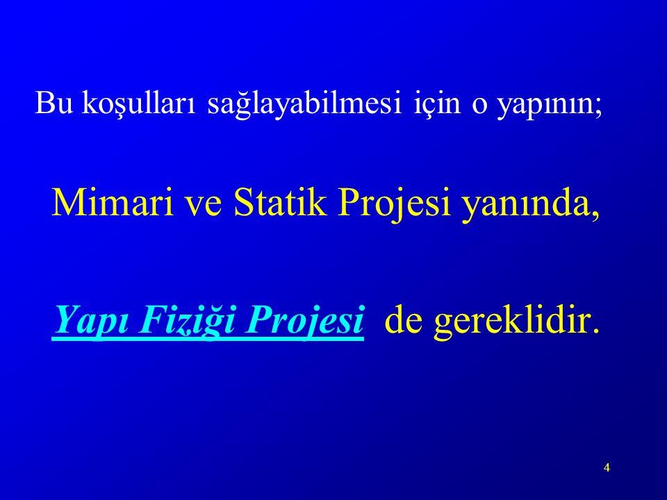 4 Bu koşulları sağlayabilmesi için o yapının; Mimari ve Statik Projesi yanında, Yapı Fiziği Projesi de gereklidir.