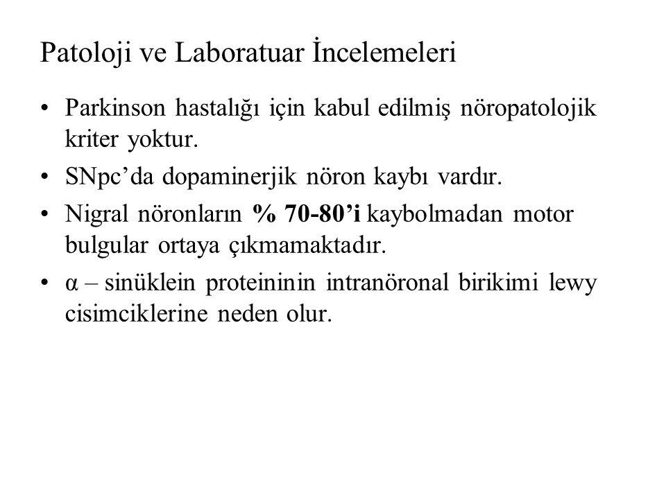 Patoloji ve Laboratuar İncelemeleri Parkinson hastalığı için kabul edilmiş nöropatolojik kriter yoktur.