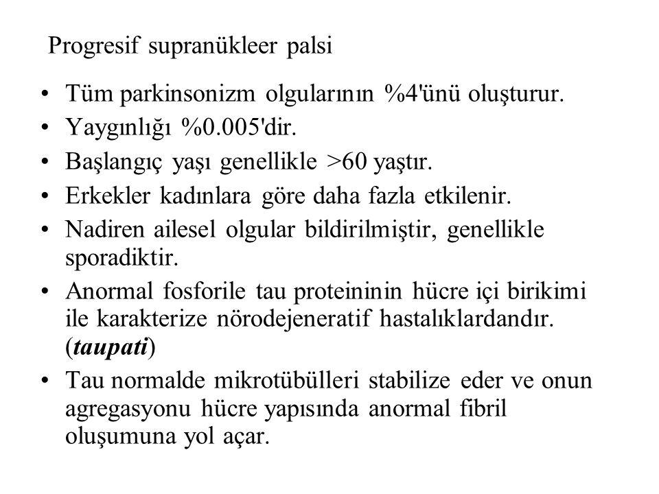 Progresif supranükleer palsi Tüm parkinsonizm olgularının %4 ünü oluşturur.