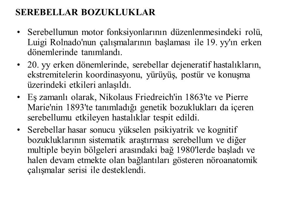 SEREBELLAR BOZUKLUKLAR Serebellumun motor fonksiyonlarının düzenlenmesindeki rolü, Luigi Rolnado nun çalışmalarının başlaması ile 19.