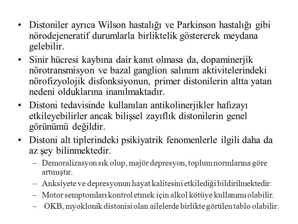 Distoniler ayrıca Wilson hastalığı ve Parkinson hastalığı gibi nörodejeneratif durumlarla birliktelik göstererek meydana gelebilir. Sinir hücresi kayb
