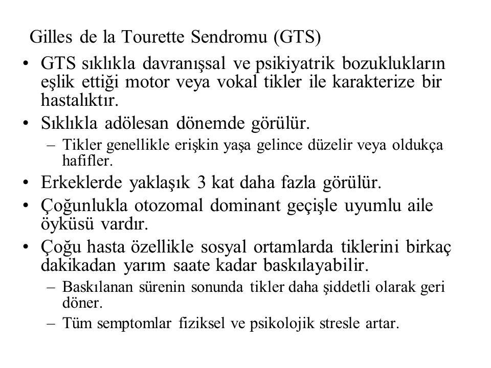 Gilles de la Tourette Sendromu (GTS) GTS sıklıkla davranışsal ve psikiyatrik bozuklukların eşlik ettiği motor veya vokal tikler ile karakterize bir hastalıktır.