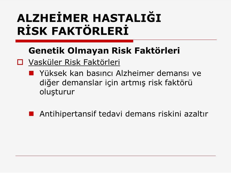 ALZHEİMER HASTALIĞI RİSK FAKTÖRLERİ Genetik Olmayan Risk Faktörleri  Vasküler Risk Faktörleri Yüksek kan basıncı Alzheimer demansı ve diğer demanslar