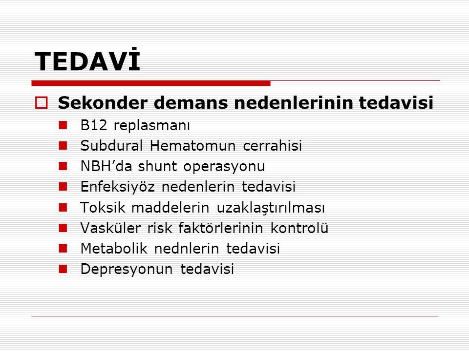 TEDAVİ  Sekonder demans nedenlerinin tedavisi B12 replasmanı Subdural Hematomun cerrahisi NBH'da shunt operasyonu Enfeksiyöz nedenlerin tedavisi Toks