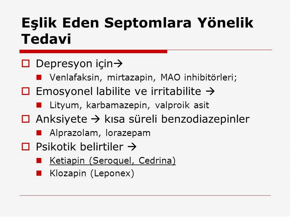 Eşlik Eden Septomlara Yönelik Tedavi  Depresyon için  Venlafaksin, mirtazapin, MAO inhibitörleri;  Emosyonel labilite ve irritabilite  Lityum, kar
