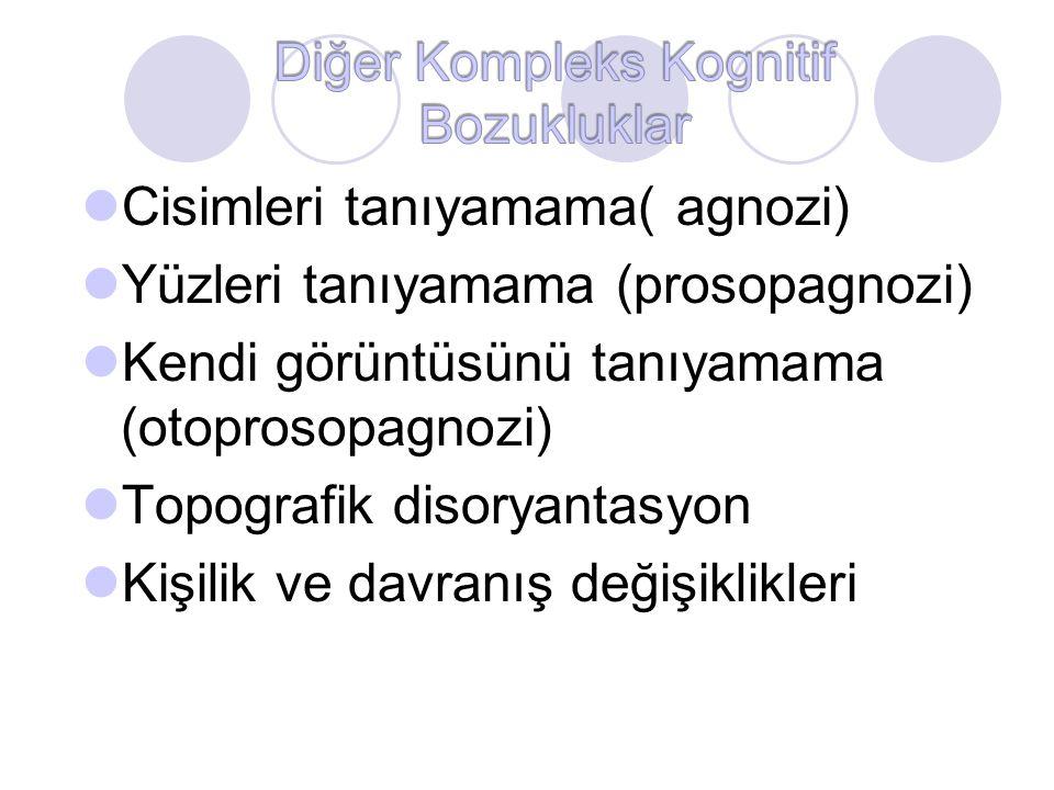 Cisimleri tanıyamama( agnozi) Yüzleri tanıyamama (prosopagnozi) Kendi görüntüsünü tanıyamama (otoprosopagnozi) Topografik disoryantasyon Kişilik ve da