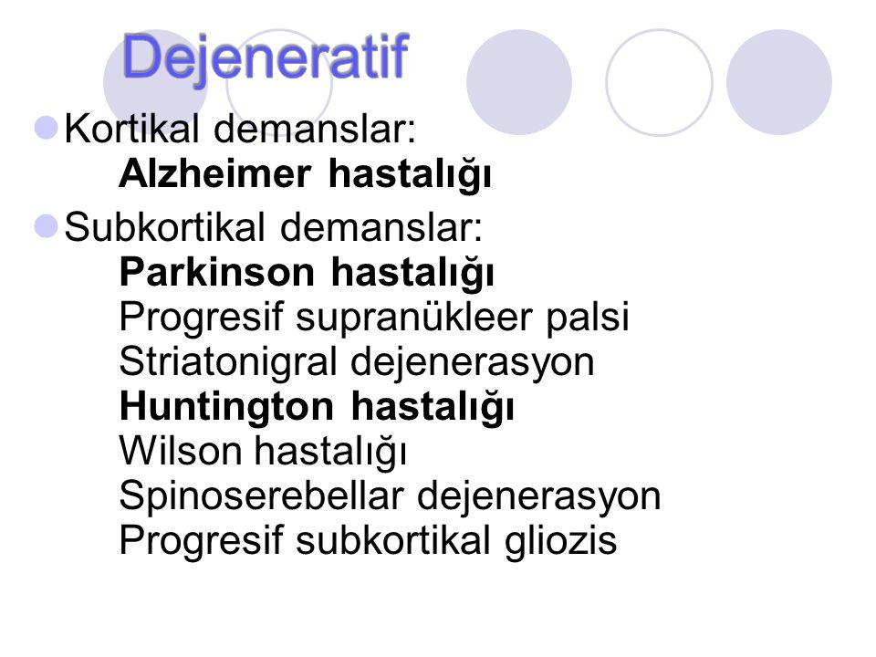 Kortikal demanslar: Alzheimer hastalığı Subkortikal demanslar: Parkinson hastalığı Progresif supranükleer palsi Striatonigral dejenerasyon Huntington
