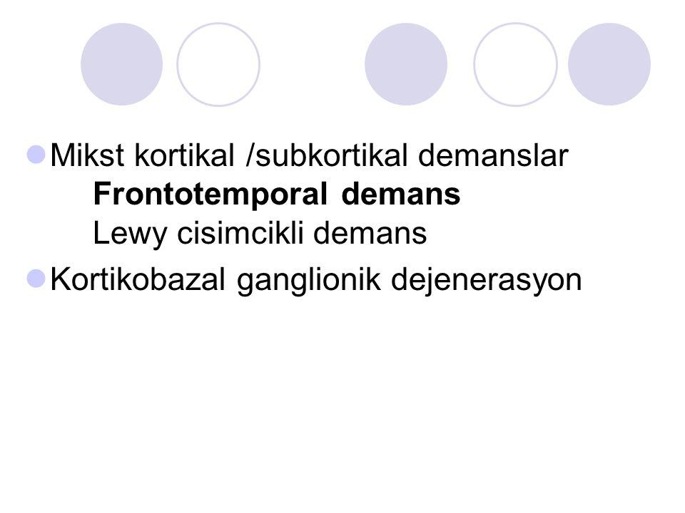 Mikst kortikal /subkortikal demanslar Frontotemporal demans Lewy cisimcikli demans Kortikobazal ganglionik dejenerasyon
