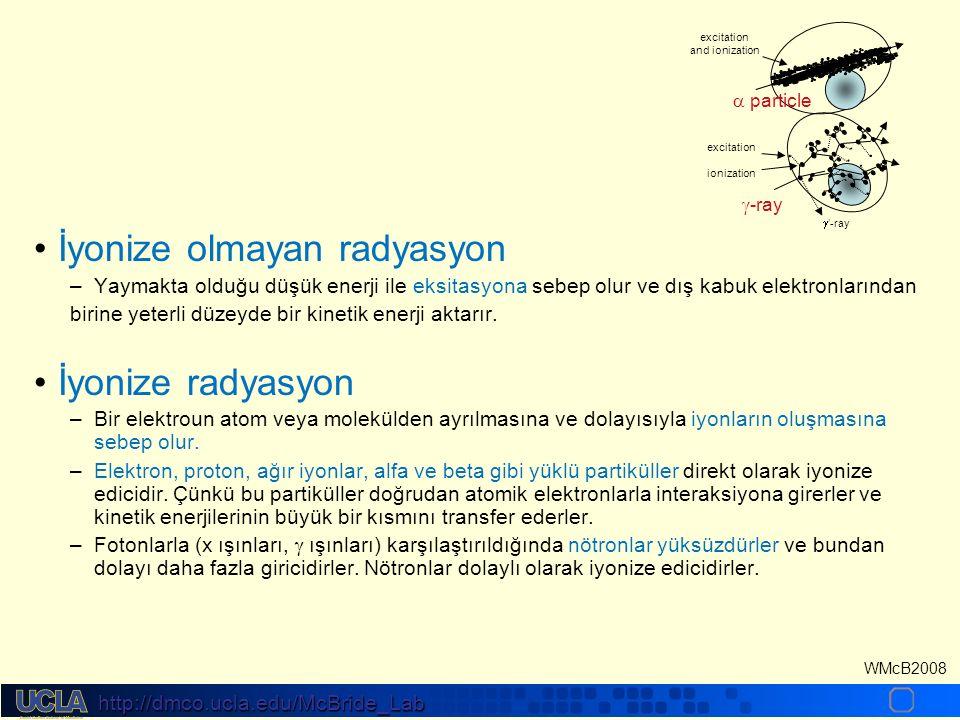 http://dmco.ucla.edu/McBride_Lab WMcB2008 İyon oluşumu– H2O + ve e- Eksitasyon, H ve OH radikal oluşumu İyon radikal yarı ömrü Serbest radikal yarı ömrü Bağların kırılması Kimyasal onarım/ Enzimatik onarım Erken biyolojik etki Geç biyolojik etki 10 -18 10 -12 10 -6 10 0 10 6 Saniye Enerjinin absorblanması Fiziksel etkiler Kimyasal lezyonar Kimyasal onarım Enzimatik onarımı Hücresel etkiler Doku etkileri Sistematik etkiler Gün-Yıl Saat-Gün Dakika-Saat İyonizasyon; serbest radikalleri, iyon radikalleri ve iyonları üretir.