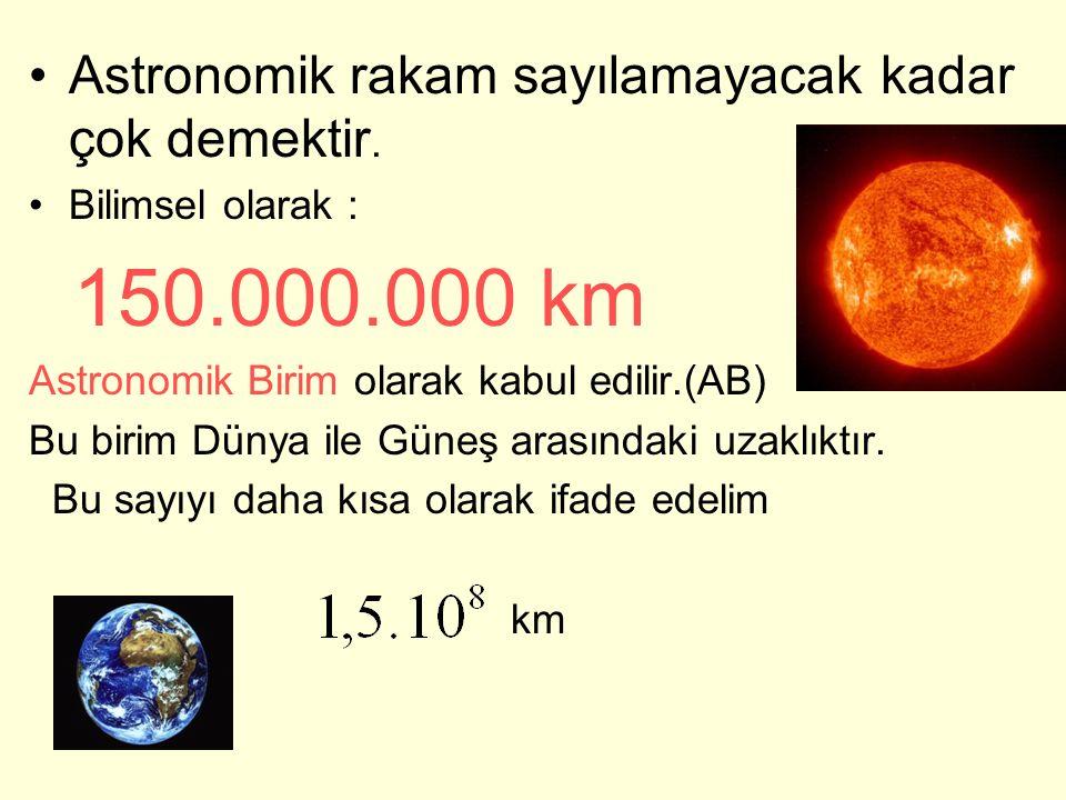 Astronomik rakam sayılamayacak kadar çok demektir. Bilimsel olarak : 150.000.000 km Astronomik Birim olarak kabul edilir.(AB) Bu birim Dünya ile Güneş
