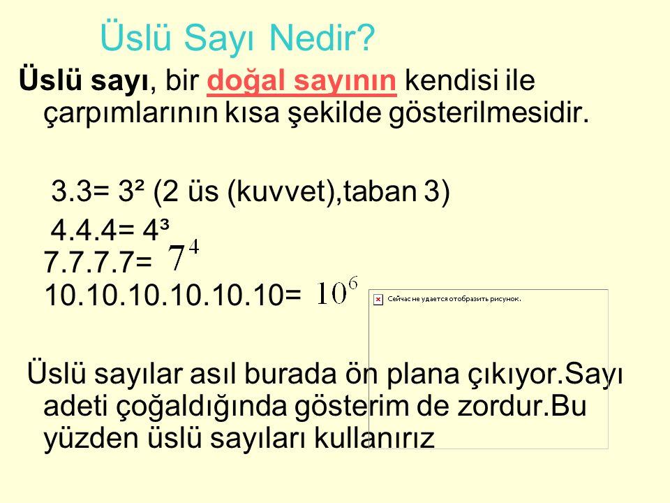 Üslü Sayı Nedir? Üslü sayı, bir doğal sayının kendisi ile çarpımlarının kısa şekilde gösterilmesidir.doğal sayının 3.3= 3² (2 üs (kuvvet),taban 3) 4.4