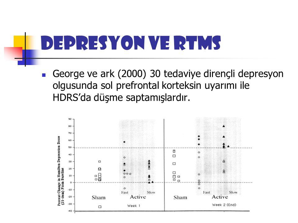 Depresyon ve rTMS George ve ark (2000) 30 tedaviye dirençli depresyon olgusunda sol prefrontal korteksin uyarımı ile HDRS'da düşme saptamışlardır.