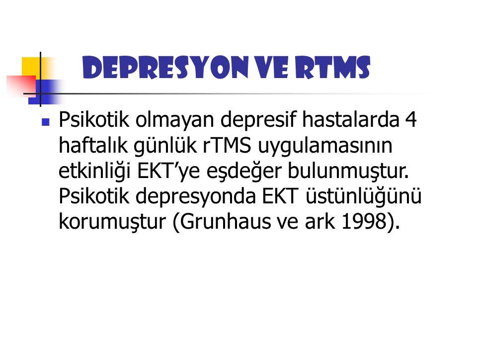 Depresyon ve rTMS Psikotik olmayan depresif hastalarda 4 haftalık günlük rTMS uygulamasının etkinliği EKT'ye eşdeğer bulunmuştur.