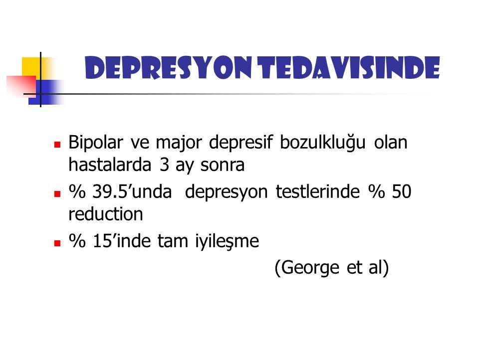 Depresyon tedavisinde Bipolar ve major depresif bozulkluğu olan hastalarda 3 ay sonra % 39.5'unda depresyon testlerinde % 50 reduction % 15'inde tam iyileşme (George et al)