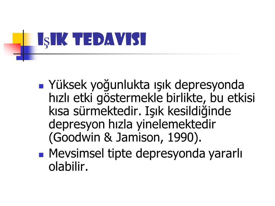 I ş ık Tedavisi Yüksek yoğunlukta ışık depresyonda hızlı etki göstermekle birlikte, bu etkisi kısa sürmektedir.