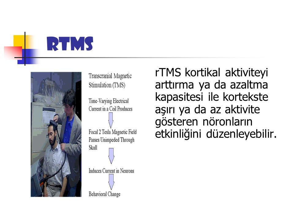 rTMS n rTMS kortikal aktiviteyi arttırma ya da azaltma kapasitesi ile kortekste aşırı ya da az aktivite gösteren nöronların etkinliğini düzenleyebilir.