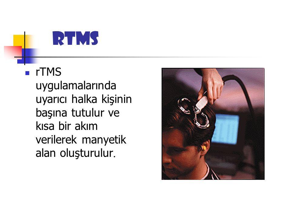 rTMS rTMS uygulamalarında uyarıcı halka kişinin başına tutulur ve kısa bir akım verilerek manyetik alan oluşturulur.