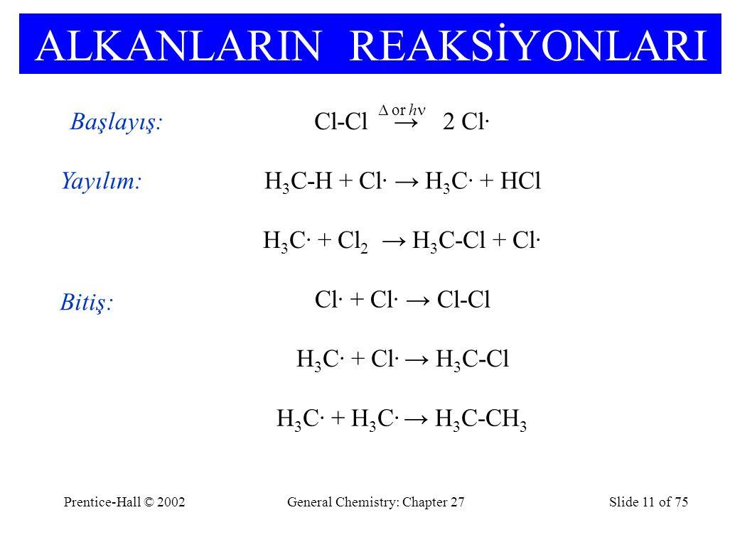 Prentice-Hall © 2002General Chemistry: Chapter 27Slide 11 of 75 ALKANLARIN REAKSİYONLARI Başlayış:Cl-Cl → 2 Cl· Yayılım:H 3 C-H + Cl· → H 3 C· + HCl H 3 C· + Cl 2 → H 3 C-Cl + Cl· Bitiş: H 3 C· + Cl· → H 3 C-Cl Cl· + Cl· → Cl-Cl H 3 C· + H 3 C· → H 3 C-CH 3 Δ or h