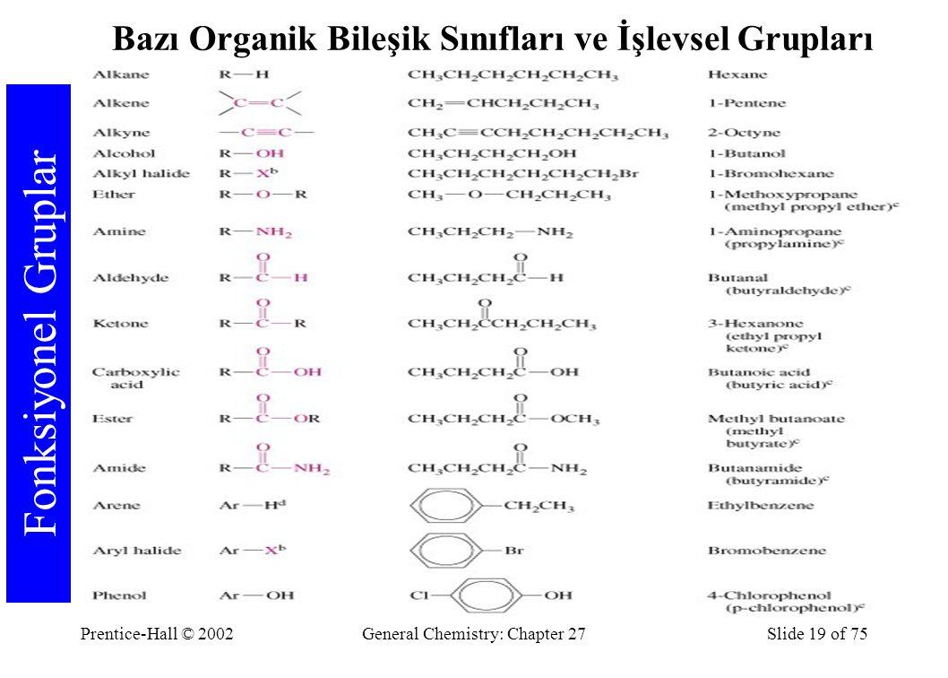 Prentice-Hall © 2002General Chemistry: Chapter 27Slide 19 of 75 Fonksiyonel Gruplar Bazı Organik Bileşik Sınıfları ve İşlevsel Grupları