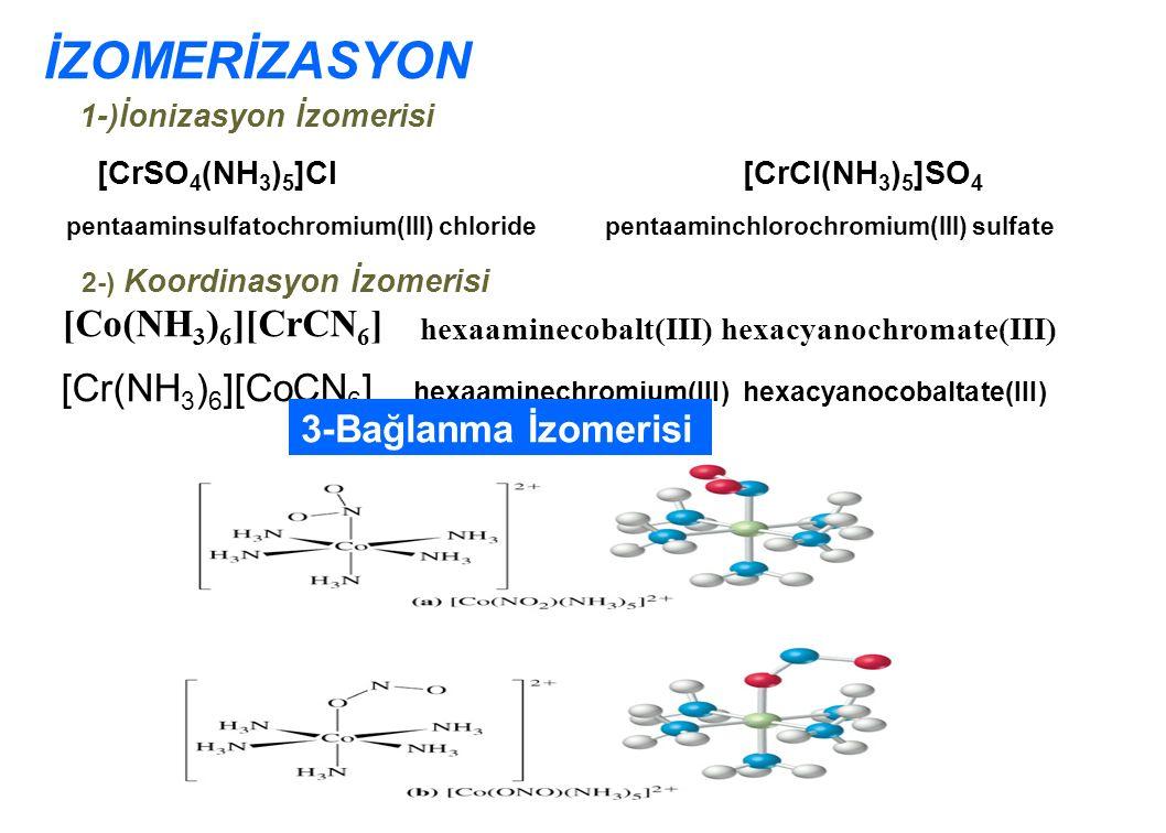 İZOMERİZASYON 1-)İonizasyon İzomerisi [CrSO 4 (NH 3 ) 5 ]Cl [CrCl(NH 3 ) 5 ]SO 4 pentaaminsulfatochromium(III) chloride pentaaminchlorochromium(III) sulfate 2-) Koordinasyon İzomerisi [Cr(NH 3 ) 6 ][CoCN 6 ] hexaaminechromium(III) hexacyanocobaltate(III) [Co(NH 3 ) 6 ][CrCN 6 ] hexaaminecobalt(III) hexacyanochromate(III) 3-Bağlanma İzomerisi