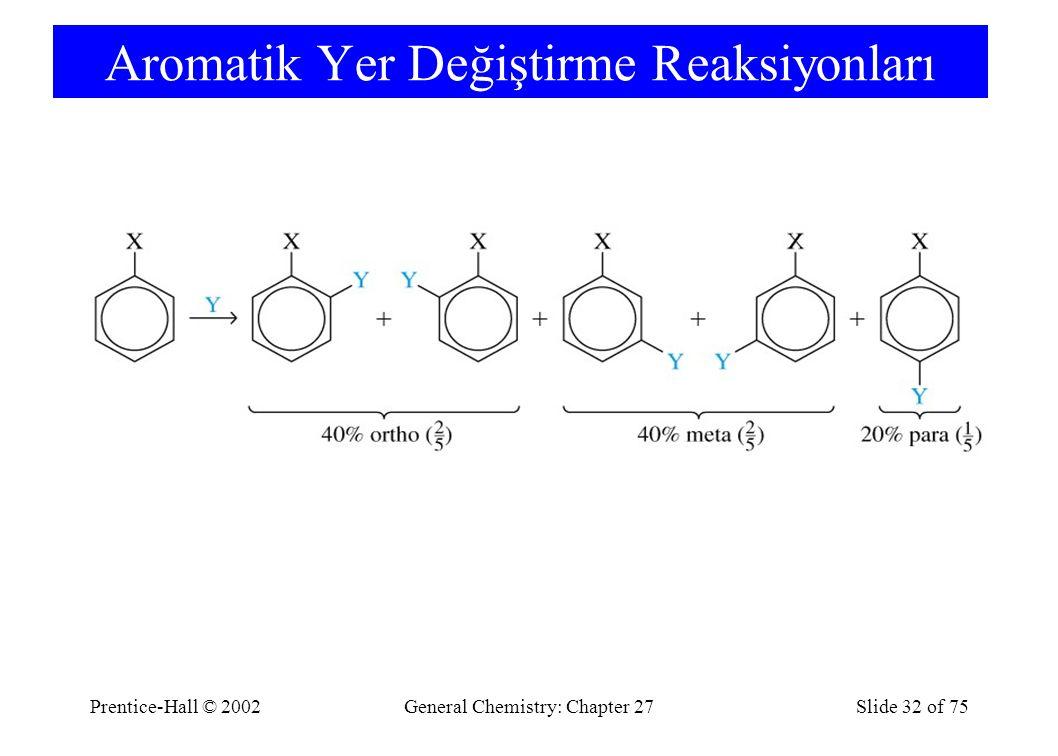 Prentice-Hall © 2002General Chemistry: Chapter 27Slide 32 of 75 Aromatik Yer Değiştirme Reaksiyonları