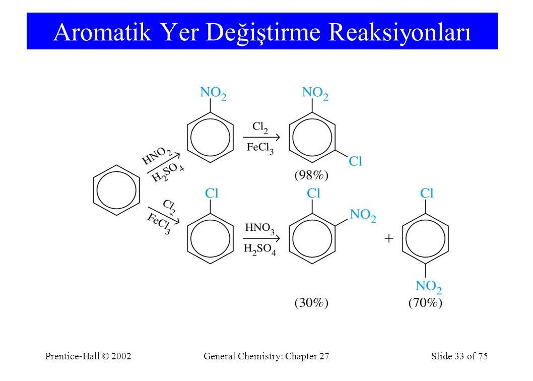 Prentice-Hall © 2002General Chemistry: Chapter 27Slide 33 of 75 Aromatik Yer Değiştirme Reaksiyonları