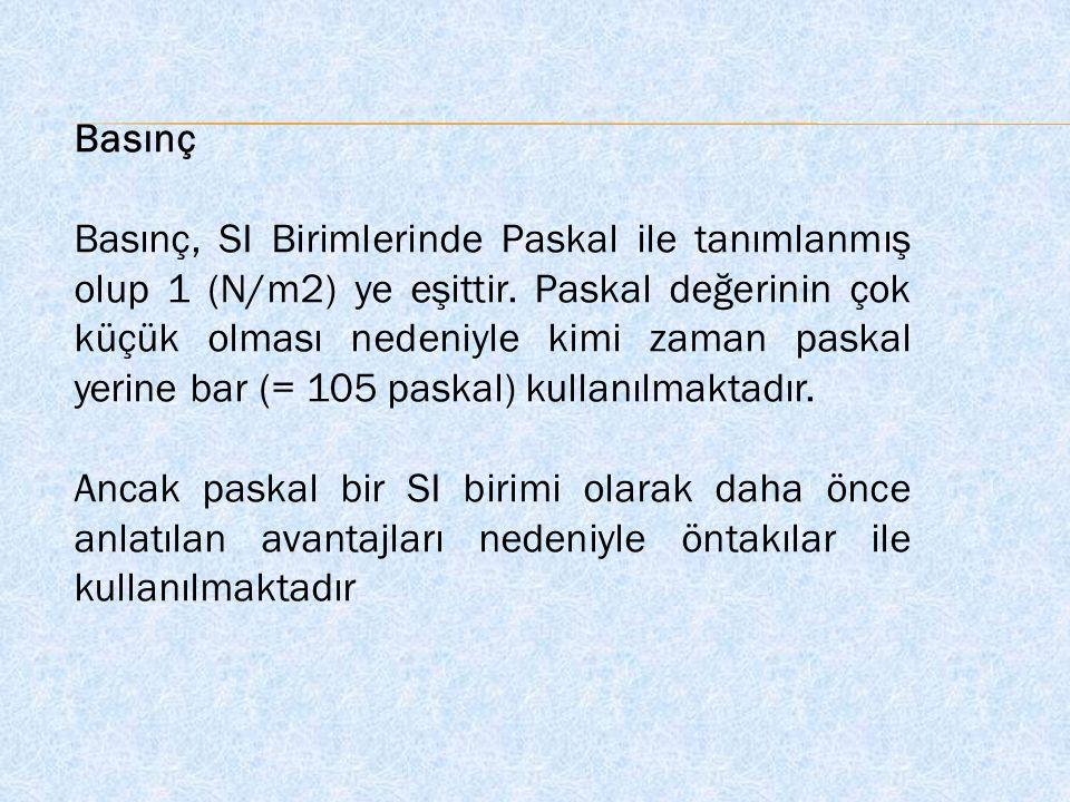 Basınç Basınç, SI Birimlerinde Paskal ile tanımlanmış olup 1 (N/m2) ye eşittir. Paskal değerinin çok küçük olması nedeniyle kimi zaman paskal yerine b