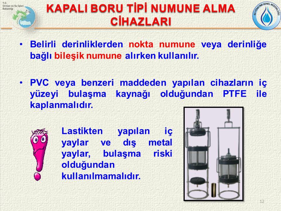 KAPALI BORU TİPİ NUMUNE ALMA CİHAZLARI Belirli derinliklerden nokta numune veya derinliğe bağlı bileşik numune alırken kullanılır.