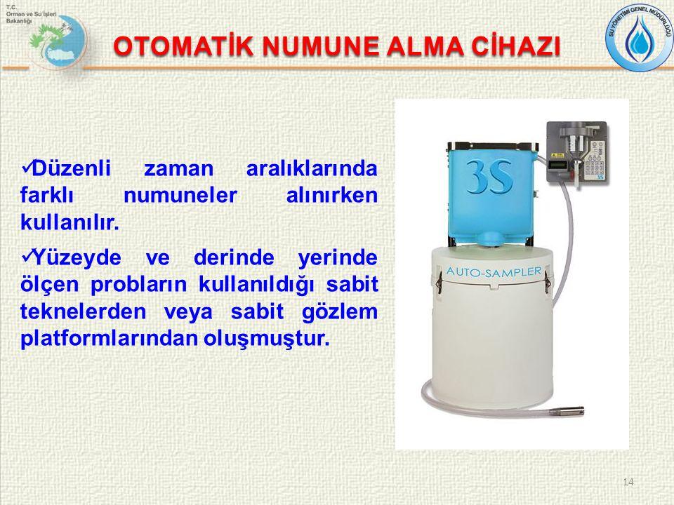 OTOMATİK NUMUNE ALMA CİHAZI Düzenli zaman aralıklarında farklı numuneler alınırken kullanılır.