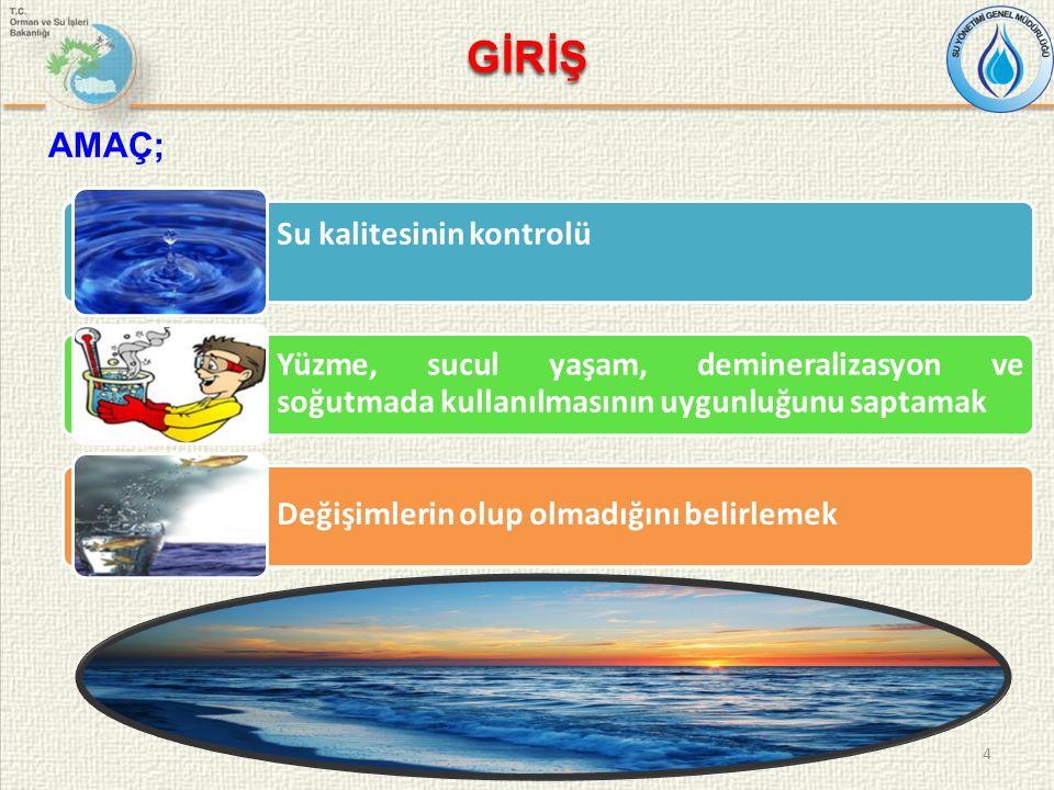 GİRİŞ 4 AMAÇ; Su kalitesinin kontrolü Yüzme, sucul yaşam, demineralizasyon ve soğutmada kullanılmasının uygunluğunu saptamak Değişimlerin olup olmadığını belirlemek