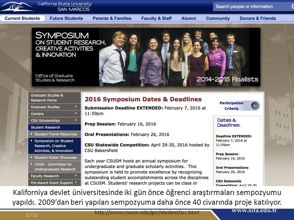 2 http://www.csusm.edu/gsr/student/src.html Kaliforniya devlet üniversitesinde iki gün önce öğrenci araştırmaları sempozyumu yapıldı.
