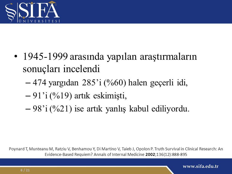 1945-1999 arasında yapılan araştırmaların sonuçları incelendi – 474 yargıdan 285'i (%60) halen geçerli idi, – 91'i (%19) artık eskimişti, – 98'i (%21) ise artık yanlış kabul ediliyordu.
