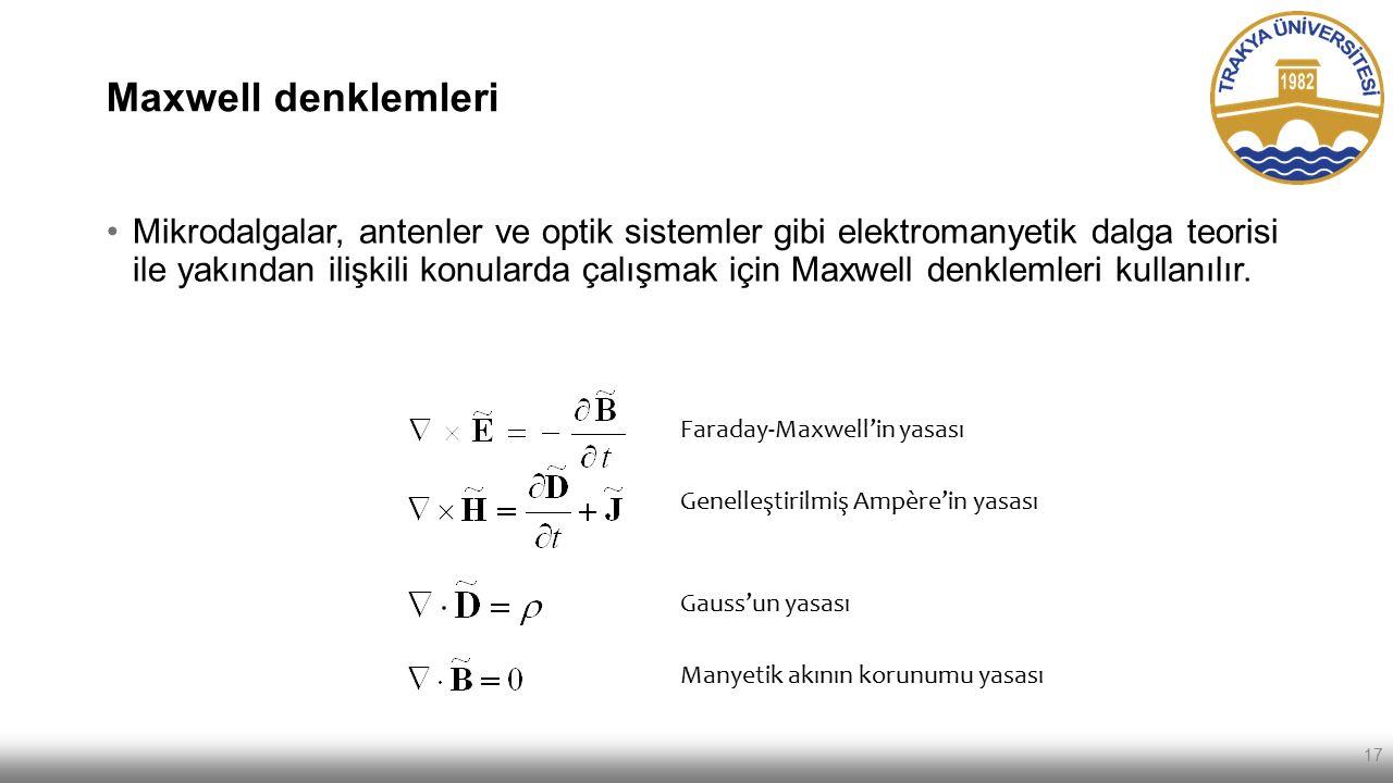 Maxwell denklemleri 17 Mikrodalgalar, antenler ve optik sistemler gibi elektromanyetik dalga teorisi ile yakından ilişkili konularda çalışmak için Max