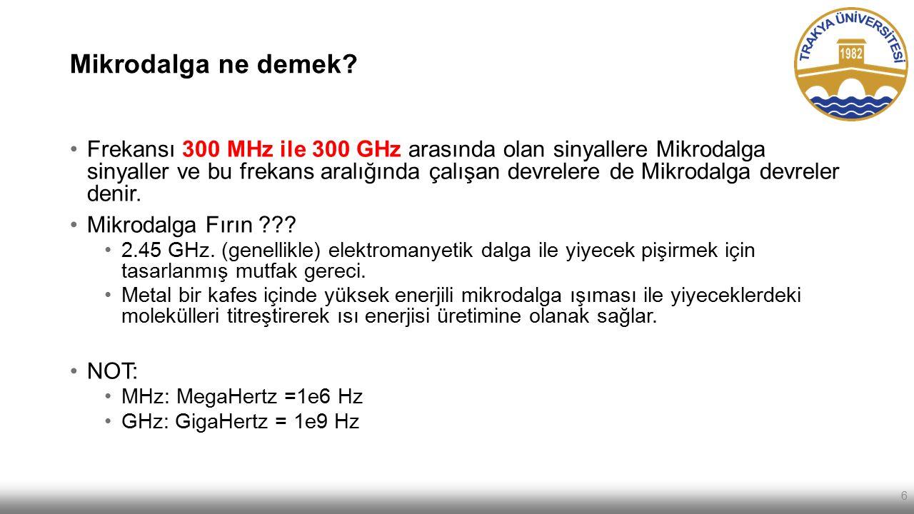 Mikrodalga ne demek? Frekansı 300 MHz ile 300 GHz arasında olan sinyallere Mikrodalga sinyaller ve bu frekans aralığında çalışan devrelere de Mikrodal