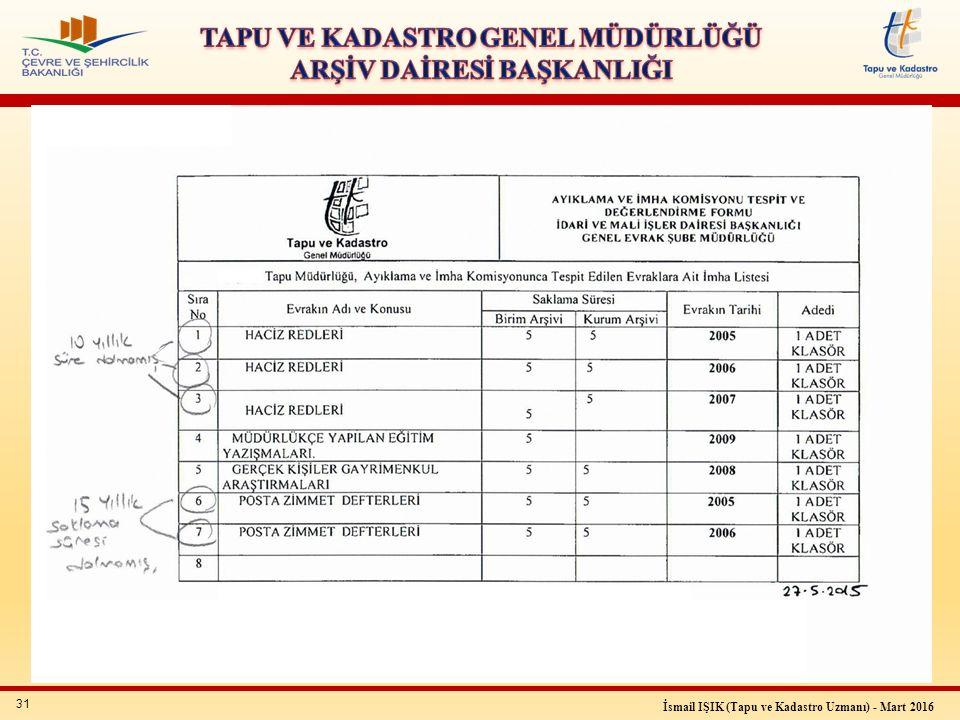 31 İsmail IŞIK (Tapu ve Kadastro Uzmanı) - Mart 2016