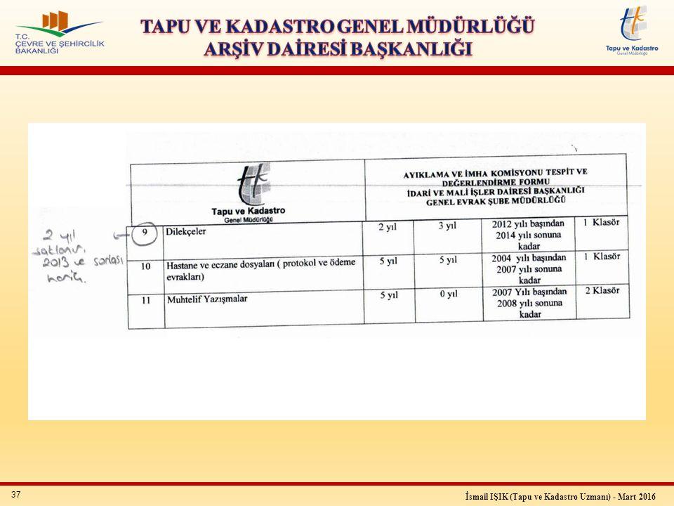 37 İsmail IŞIK (Tapu ve Kadastro Uzmanı) - Mart 2016