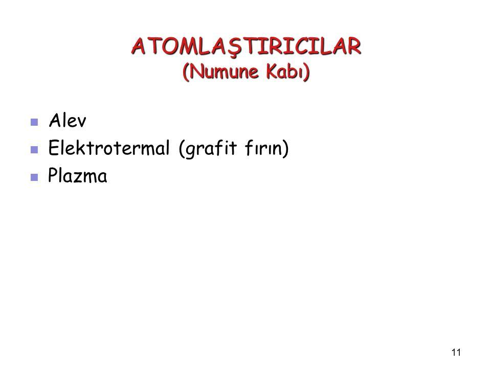 11 ATOMLAŞTIRICILAR (Numune Kabı) Alev Alev Elektrotermal (grafit fırın) Elektrotermal (grafit fırın) Plazma Plazma