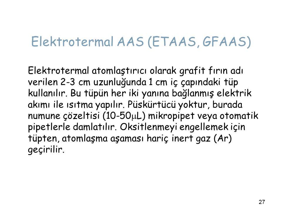27 Elektrotermal AAS (ETAAS, GFAAS) Elektrotermal atomlaştırıcı olarak grafit fırın adı verilen 2-3 cm uzunluğunda 1 cm iç çapındaki tüp kullanılır.