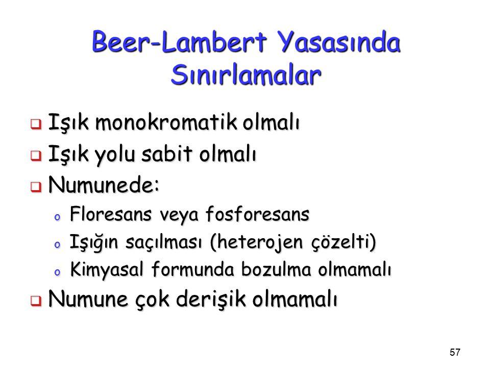 57 Beer-Lambert Yasasında Sınırlamalar  Işık monokromatik olmalı  Işık yolu sabit olmalı  Numunede: o Floresans veya fosforesans o Işığın saçılması (heterojen çözelti) o Kimyasal formunda bozulma olmamalı  Numune çok derişik olmamalı