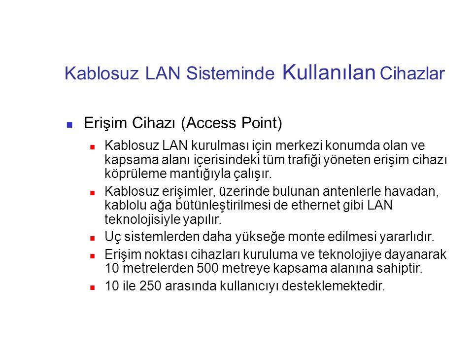 Kablosuz LAN Sisteminde Kullanılan Cihazlar Erişim Cihazı (Access Point) Kablosuz LAN kurulması için merkezi konumda olan ve kapsama alanı içerisindek