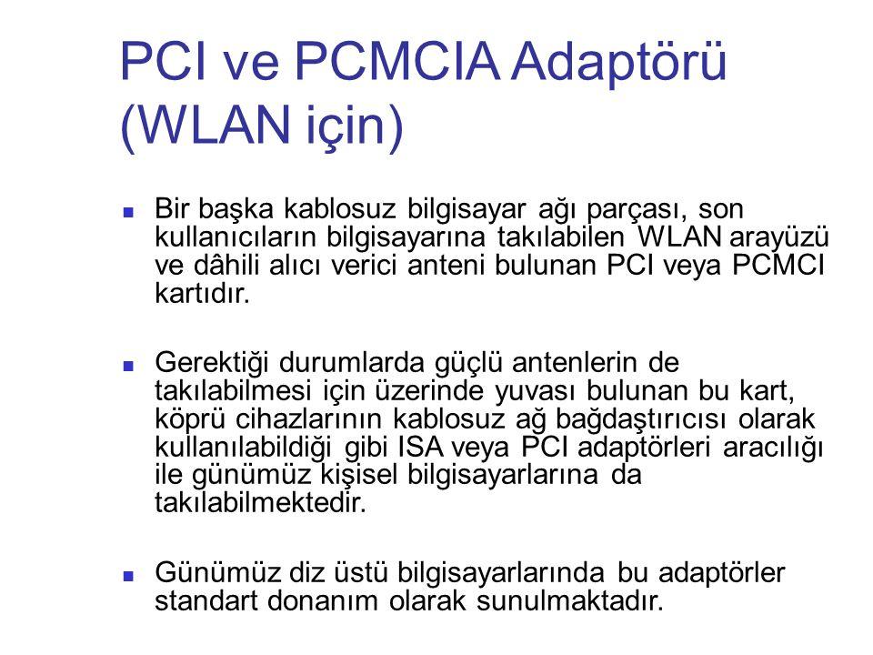 PCI ve PCMCIA Adaptörü (WLAN için) Bir başka kablosuz bilgisayar ağı parçası, son kullanıcıların bilgisayarına takılabilen WLAN arayüzü ve dâhili alıc