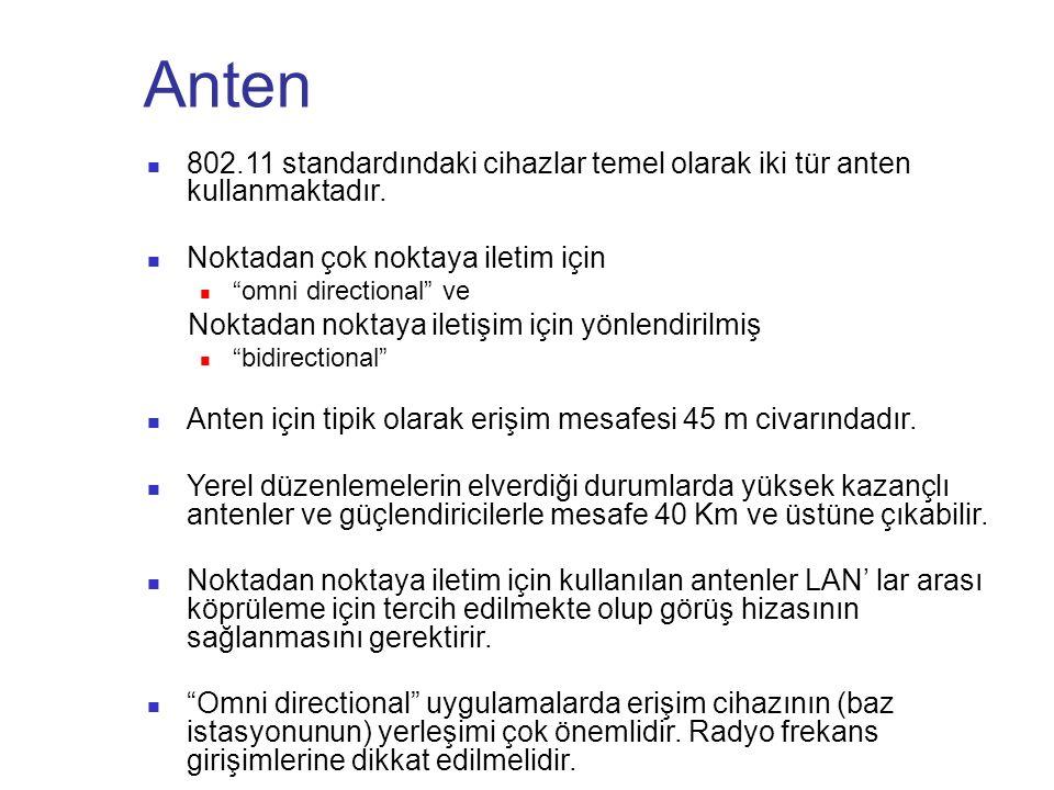 """Anten 802.11 standardındaki cihazlar temel olarak iki tür anten kullanmaktadır. Noktadan çok noktaya iletim için """"omni directional"""" ve Noktadan noktay"""