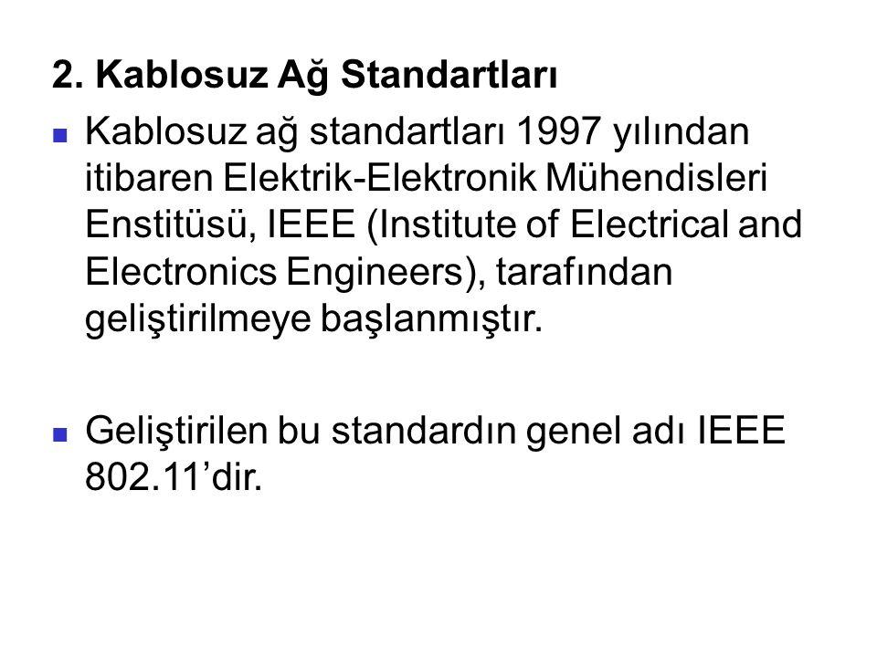 2. Kablosuz Ağ Standartları Kablosuz ağ standartları 1997 yılından itibaren Elektrik-Elektronik Mühendisleri Enstitüsü, IEEE (Institute of Electrical